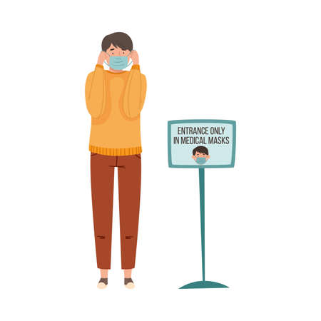 Man Putting On Medical Face Mask Before Entry in Public Place Vector Illustration