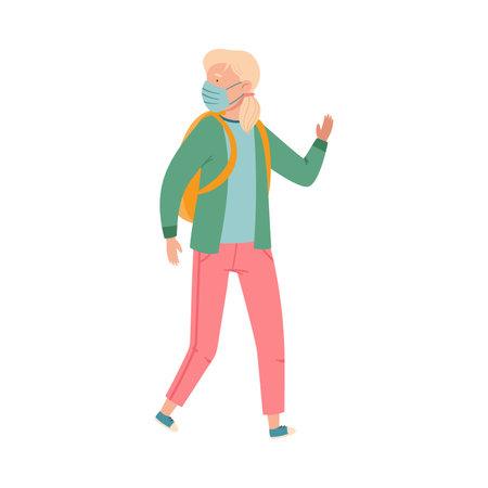 Teenager Girl with Backpack Wearing Medical Face Mask Walking Outdoor Vector Illustration Vecteurs