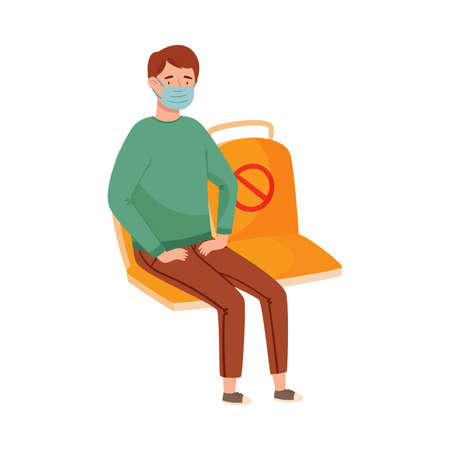 Young Man in Medical Face Mask Sitting at Public Transport Vector Illustration