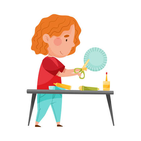 Little Girl Crafting Cutting Out Baking Cup with Scissors Vector Illustration