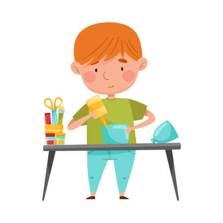 Little Boy Modeling from Disposable Plastic Bottle Sticking with Glue Vector Illustration