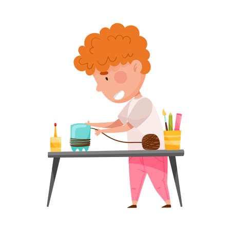 Creative Boy at Desk Crafting from Used Plastic Bottle Vector Illustration