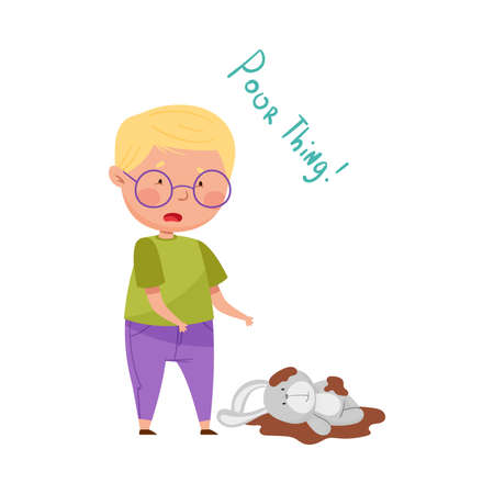 Little Boy in Glasses Feeling Sorry and Expressing Regret for Stained Fluffy Toy Vector Illustration Vettoriali