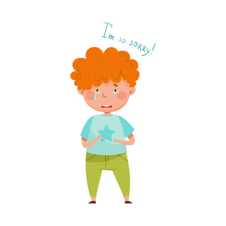 Little Red Haired Boy Crying Feeling Sorry and Expressing Regret for Bad Thing Vector Illustration Ilustração