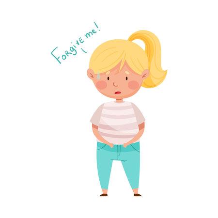 Embarrassed Girl Feeling Sorry and Expressing Regret Vector Illustration Ilustração