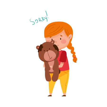 Confused Little Girl Feeling Sorry and Expressing Regret about Stained Toy Bear Vector Illustration Ilustração