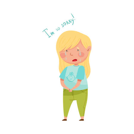 Little Girl with Blonde Hair Crying Feeling Sorry and Expressing Regret for Bad Thing Vector Illustration Ilustração