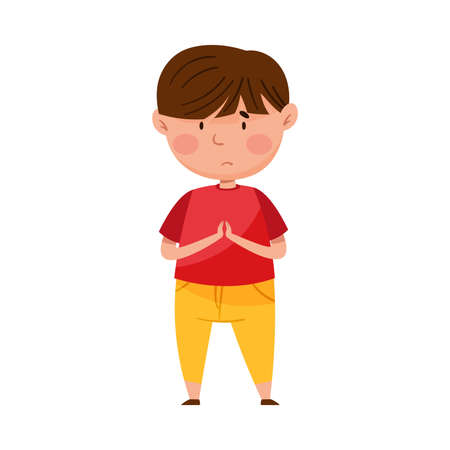 Confused Little Boy Putting His Hands Together Feeling Sorry and Expressing Regret Vector Illustration Vettoriali