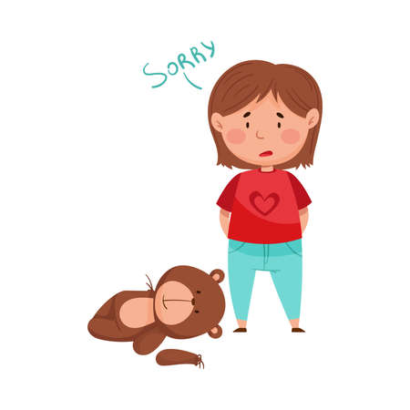 Embarrassed Little Girl with Guilty Look Demonstrating Sorrow and Begging Pardon for Ripped Bear Toy Vector Illustration