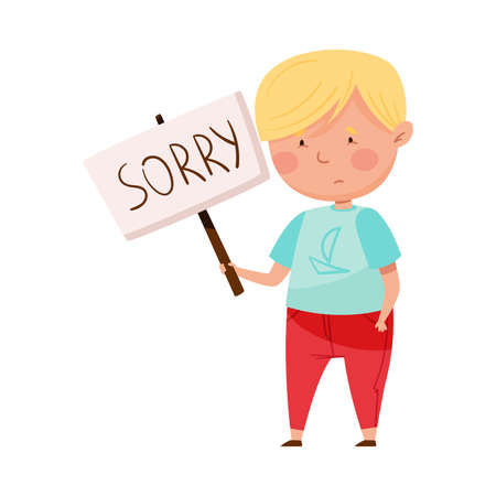 Embarrassed Little Boy with Guilty Look Holding Placard with Sorry Word Vector Illustration