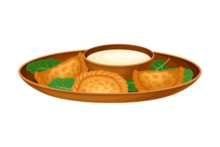 Stuffed Baked Dumplings with Sour Cream Sauce as Syrian Cuisine Dish Vector Illustration