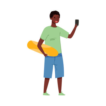 African American Teenager Boy in Casual Wear Holding Smartphone Vector Illustration