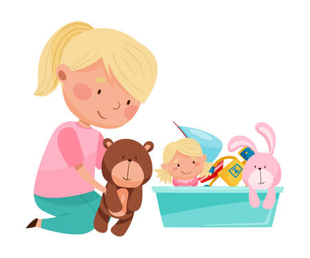 Funny Girl Sitting on Floor and Playing with Different Toys in Playroom Vector Illustration