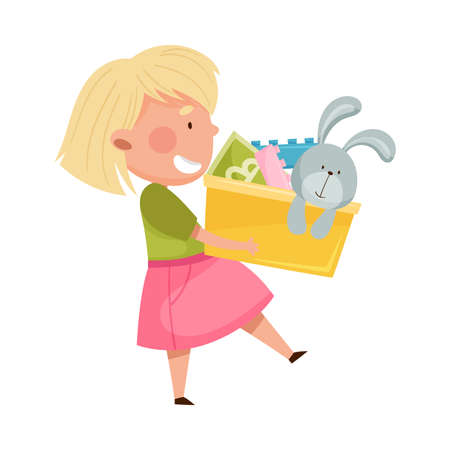 Red Cheeked Girl Carrying Box with Different Toys in Playroom Vector Illustration