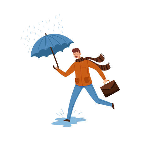 Man with Moustache Running with Umbrella in Autumn Day Vector Illustration
