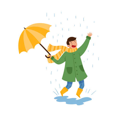 Boy Teenager Jumping in Puddle in Rainy Day Vector Illustration