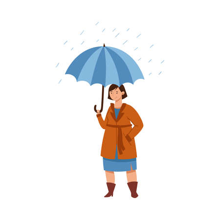 Standing Under Umbrella Female Character in Rainy Day Vector Illustration