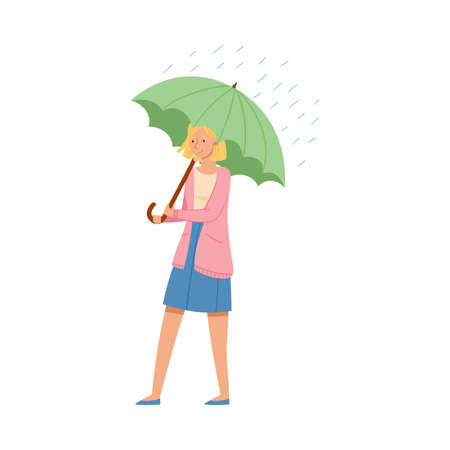 Smiling Female Holding Umbrella in Rainy Wet Weather Vector Illustration Vetores