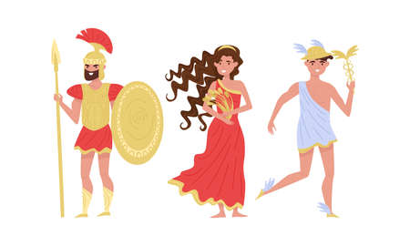 Greek Gods and Goddess with Ares Holding Spear and Hermes Vector Set