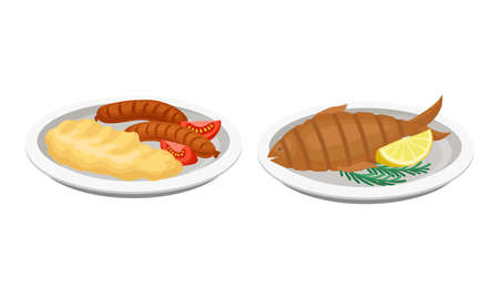 Grilled Fish and Sausages with Mashed Potato as Barbeque Food Served on Plate Vector Set