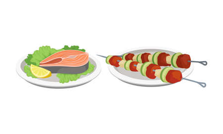Shashlik with Skewered Meat Slabs and Fish Steak as Barbeque Food Served on Plate Vector Set.