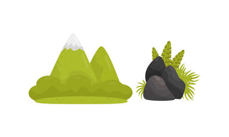 Mountain and Stones as Tropical Jungle Landscape Elements Vector Set