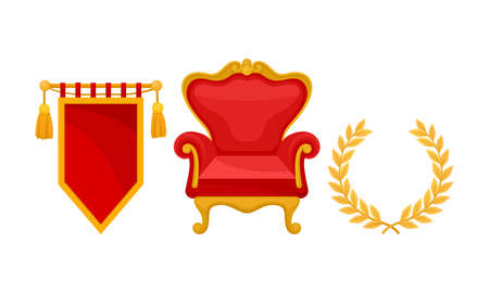 Monarchy Attributes with Golden Laurel Wreath and Throne Chair Vector Set Иллюстрация