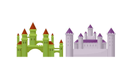 Stone Castle with Tall Towers and Walls as Fortified Middle Age Stone Structure Vector Set Çizim
