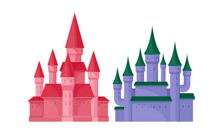 Bright Fairy Castles as Fortified Middle Age Stone Structure Vector Set