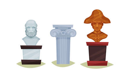 Museum Exhibit with Rome Column and Stone Statue Vector Set