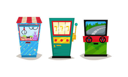 Slot or Arcade Machines Vector Set. Gaming Industry Equipment Collection Stock fotó - 161097575