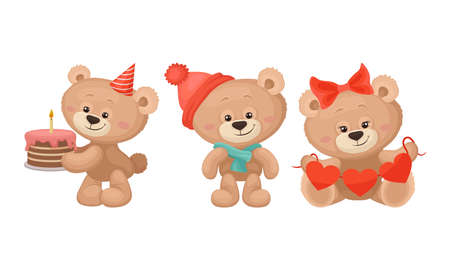 Cute Cartoon Teddy Bear Carrying Cake with Candle and Holding Heart Garland Vector Set