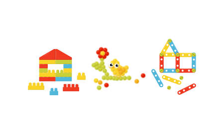 Construction Set as Toy for Children with Building Components Vector Set