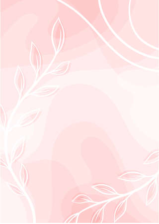 Abstract Card with Floral Leaf and Fluid Backdrop Vector Template