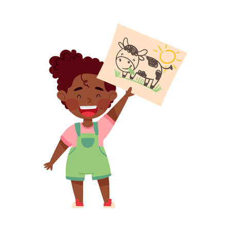 Cheerful African American Girl Artist Showing Paper with Drawing Vector Illustration