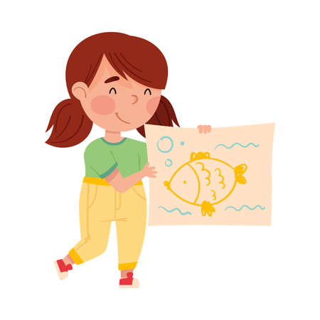 Cheerful Girl Artist Showing Paper with Fish Drawing Vector Illustration Vettoriali