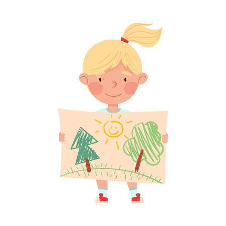 Cute Girl Artist Showing Paper with Tree Drawing Vector Illustration Vettoriali