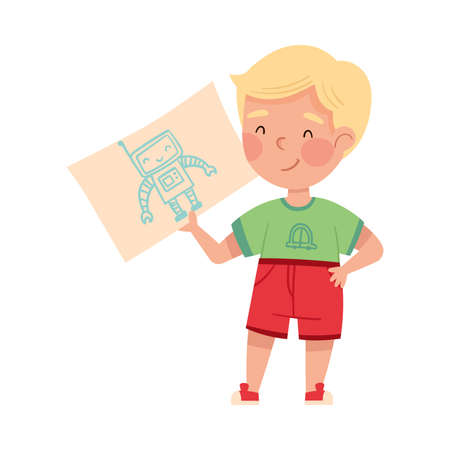 Cute Boy Artist Showing Paper with Robot Drawing Vector Illustration