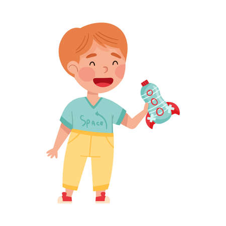 Smiling Boy Artist with Handcrafted Rocket Made of Plastic Bottle Vector Illustration Vettoriali