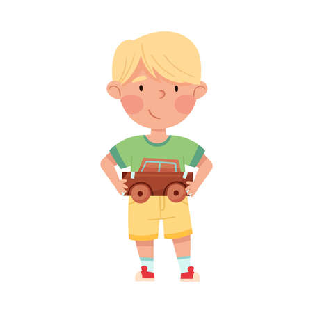 Smiling Boy Artist with Handcrafted Cardboard Car Vector Illustration