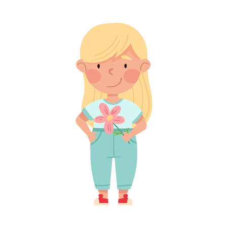 Cute Girl Artist with Handcrafted Paper Flower Vector Illustration Vettoriali