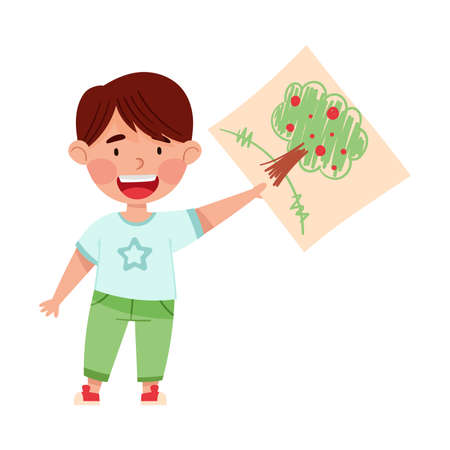 Cute Boy Artist Showing Paper with Tree Drawing Vector Illustration