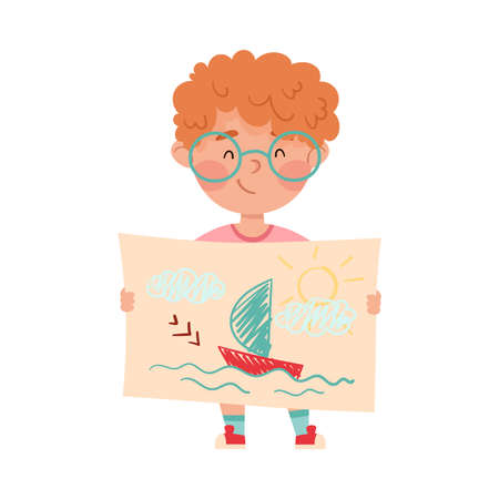 Happy Boy Artist Showing Paper with Ship Drawing Vector Illustration