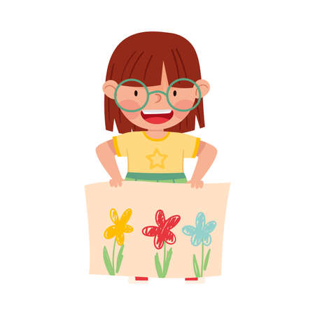 Happy Girl Artist Showing Paper with Flower Drawing Vector Illustration Vettoriali
