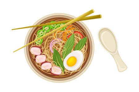 Asian Savoury Soup with Noodles and Boiled Egg in Bowl with Chopsticks Above View Vector Illustration
