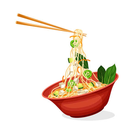 Asian Savoury Soup with Noodles and Cheese in Bowl with Chopsticks Vector Illustration