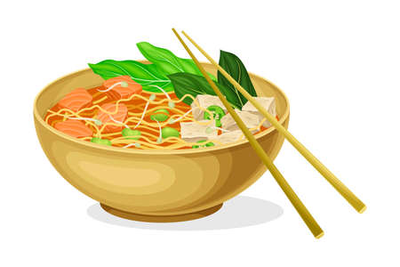 Asian Savoury Soup with Noodles, Tofu and Bean Sprouts in Bowl with Chopsticks Vector Illustration Vettoriali
