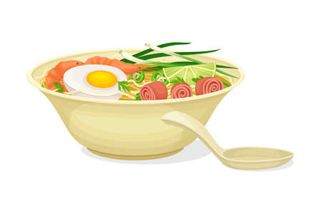 Asian Savoury Soup with Shrimp, Boiled Egg and Noodles in Bowl with Chopsticks Vector Illustration