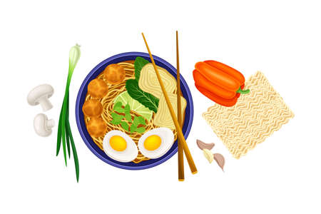 Asian Savoury Soup with Noodles and Mushrooms in Bowl with Chopsticks Above View Vector Illustration