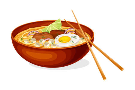 Thick Broth with Noodles, Meat and Boiled Egg as Asian Savoury Soup Served in Bowl with Chopsticks Vector Illustration